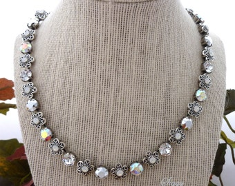 Swarovski Crystal Necklace, Metallic Silver **Silver Lining Collection** Shimmering AB, with White Opal Flower Embellishments, Siggy Jewelry
