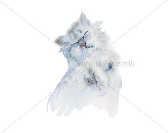 playful fluffy lazy cat digital download from original watercolor pattern nursery clip art
