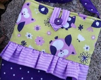 Owl Toddler Purse,  Little Girl's Lavender & Green Purse