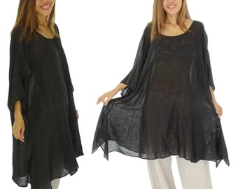 HO100SW Tunic plus size blouse linen plus size gr. 42-56 Black