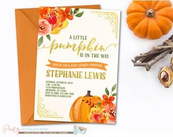 Pumpkin Baby Shower Invitation, Fall Baby Shower Invitation, Watercolor Baby Shower Invitation, Fall Invitation, Pumpkin Invitation