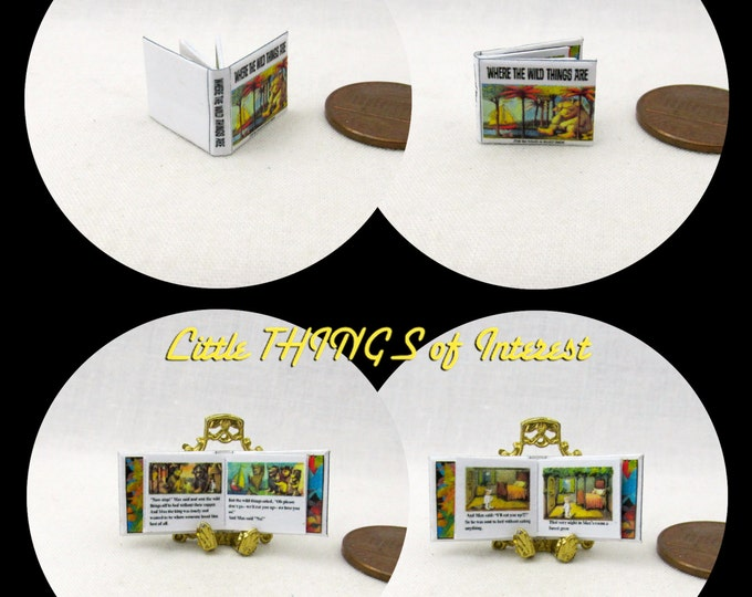 1:24 Scale WHERE The WILD THINGS Are Dollhouse Miniature Book Illustrated Book Half Scale Book