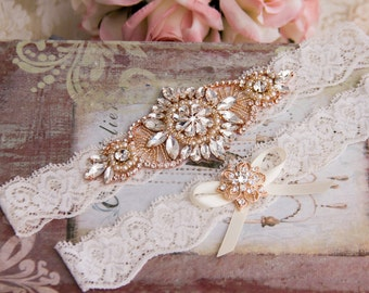 Rose Gold Wedding Garter set, Ivory Bridal Garter set, Ivory Lace Garter set, Rhinestone Garter, Rose Gold Garter, Rose Gold Lace garter