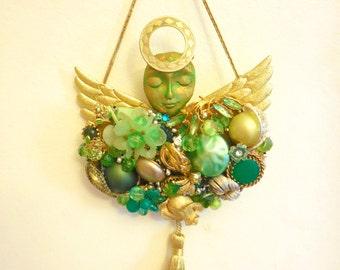 Costume Jewelry Art, Junk Jewelry Art, Jewelry Collage, May Birthstone Gift, Guardian Angel Wall,  Peridot Art,  Angel GIFT, Angel Decor