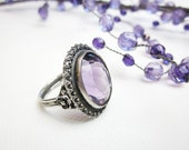 Amethyst Ring, 1930s Filigree Sterling Silver, German Large Art Deco, Handcrafted.
