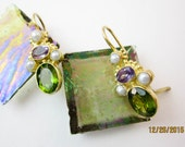 Peridot & Amethyst Earrings, Vintage Granulated Vermeil Sterling Silver, w. Cultured Pearls, Renaissance Revival, ca.1980.