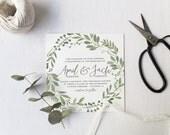 Garden Wedding Invitation Suite DEPOSIT, DIY, Rustic, Woodland, Bohemian, Boho, Country, Custom, Watercolor, Foliage (Wedding Design #65)