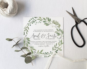 garden foliage wedding invitation suite diy rustic woodland bohemian boho country deckled edge watercolor wedding design 65