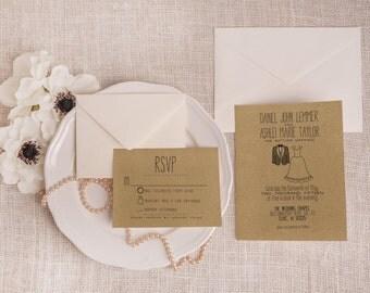 Rustic Kraft Wedding Invitation Suite DEPOSIT - Personalized, Printable, DIY, Drawn, Handmade, Funny (Wedding Design #20)