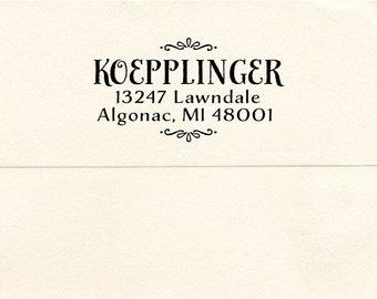 Wooden Handled Custom Address Stamp, Algonac