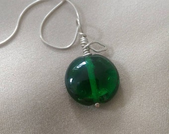 Green Apple Silver and Glass Pendant