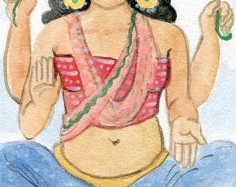 Lakshmi Painting-Original Watercolor Art-Hindu Goddess