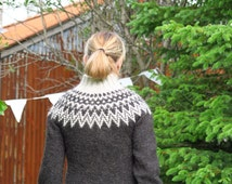 Icelandic wool sweater, charcoal with grey pattern and warm high collar. Zipped. READY TO SHIP.