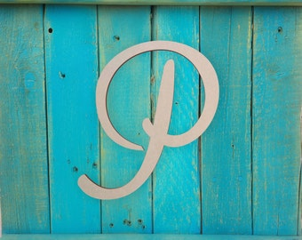 """Large Wood Monogram Letter - Large or Small, Unfinished, Cursive Wooden Letter - Perfect for Crafts, DIY, Weddings - Sizes 1"""" to 42"""""""