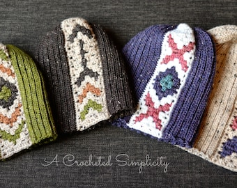 """Crochet Pattern: """"Boho Chic"""" Mosaic Slouch 6-in-1 **Permission to Sell Finished Items INSTANT DOWNLOAD"""