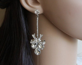 Long Crystal Bridal Earrings, Wedding Jewelry Swarovski, Crystal Wedding Earrings, Bridal Jewelry,  Bridal Bow Earrings, Stud Earrings