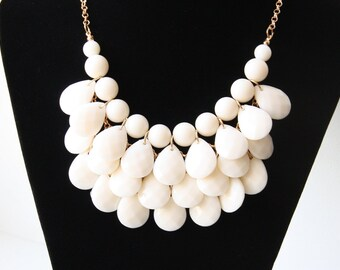 Bridal Necklace, Ivory Necklace, Wedding Jewelry, Chunky Necklace, Bridal Accessories, Bridal Jewelry, Beaded Necklace