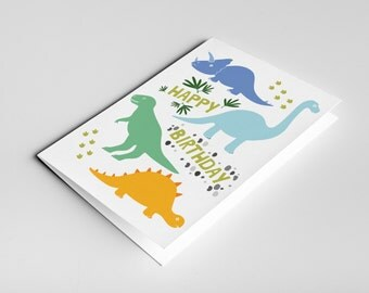 Dinosaur Birthday Card, Kids Dinosaur Card, Dino Birthday Card, Children Birthday Card, Card for Son, Boy Gift, T-Rex Card, Kids cards