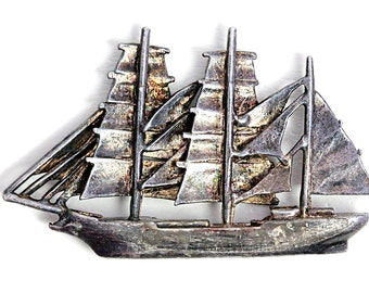 Ship Silver Pendant Middle Ages Vintage Jewelry