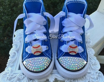 Baseball Shoes Royals Bling Converse Rhinestone Crystal Red Sox Yankees Dodgers Mets Nationals Shoes Braves Cubs Angels Jays