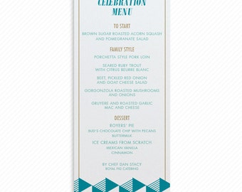 Modern Triangles Printable Wedding Dinner Menu with Print-at-Home Thank You Card Print-ready Place cards and Geometric Table Number Card