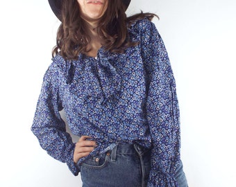 Vintage 90s Blue Ruffled Floral Print Blouse