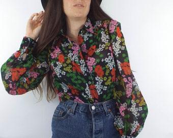 Vintage Sheer Retro Floral Print Chiffon Blouse