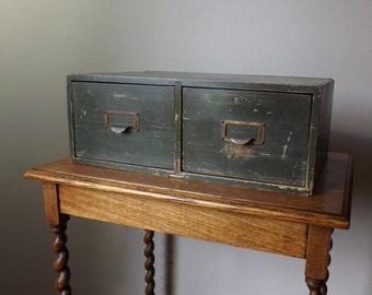 Card Catalog ~ 2 Drawer Wood Cabinet ~ Military  ~ Utility ~ Wood Card Catalog