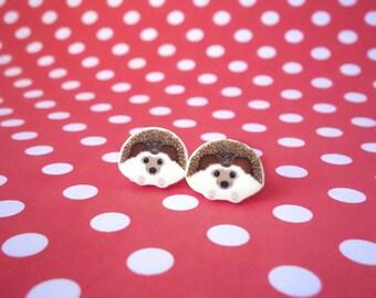 Hedgehog Earrings, Animal earrings, Hedgehog stud earrings, Hedgehog jewellery, Girls earrings