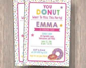 Donut Birthday Invitation, Donut Party Birthday Invitation, Pink Chevron Birthday Invitation, Donut Invitation, Birthday Invitation