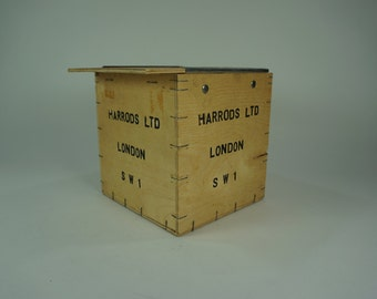 HARRODS LTD Wooden Tea Crate, Vintage Wood Box, Advertising Box, Shipping Crate, London, Harrods, Free Shipping