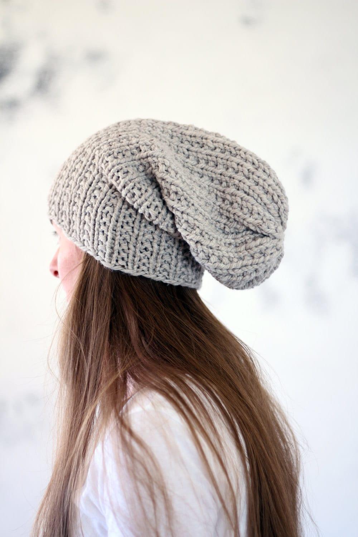 Slouchy Hat Knitting Pattern Circular Needles : Slouchy Textured Unisex Hat Knitting Pattern SILENCE a