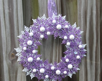 Christmas Snowflake Wreath - Lavender and White Holiday Decor