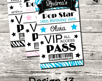 14 Color Choices Zebra Print Birthday Party Backstage VIP Pass Digital Printable