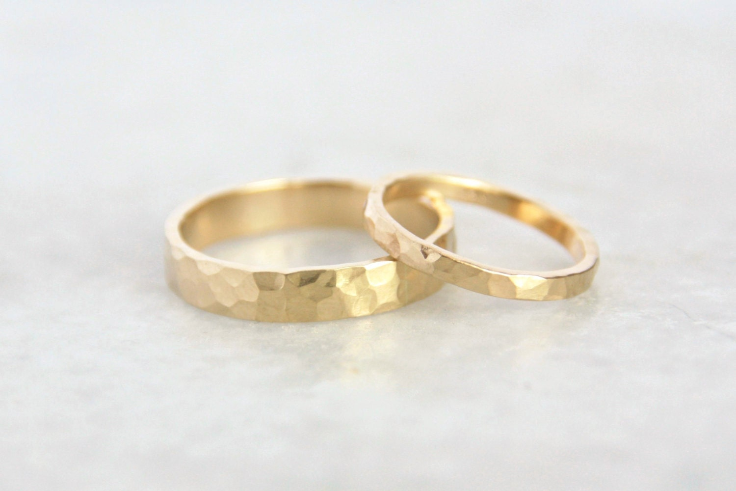 Hammered Gold Wedding Rings 14k Gold Ring Set By TorchfireStudio