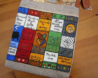 Harry Potter-inspired hand-painted bag, textbooks, book bag, handmade, unique, geekery