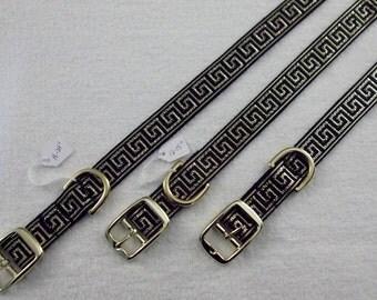 Gold on Black Greek Key Dog Collar, 10 to 24-inches/25-61 cm