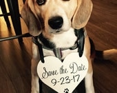 Dog Save the Date sign   HEART Dog Sign   Save the Date photo prop   Dog Engagement Announcement