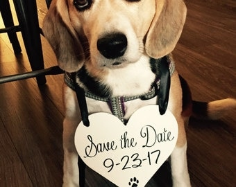 Dog Save the Date sign | HEART Dog Sign | Save the Date photo prop | Dog Engagement Announcement