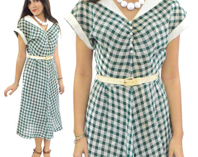 Vintage 50s Nali-Bee Dress Gingham Day Dress with Belt