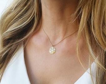 Gold pendant necklace, Charm necklace, Minimalist necklace, Gold disc necklace, Filigree necklace, Simple necklace, Filigree pendant