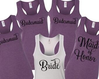 Purple Bridesmaid, bridesmaid Tank tops, Bachelorette Tank Tops, Bridal Party Shirts, Bridesmaid Tank Tops,  Bride Tank Top, bride tank top