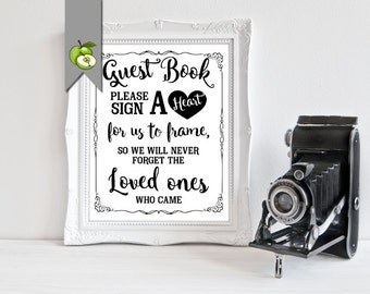 Guest book sign, Please Sign a heart, alternative guest book, wooden heart sign, Guestbook, wedding Table Sign, Instant Download, B4C