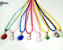 8 x swarovski crystal rainbow party favor necklaces girls necklace party bag filler girls birthday crystal necklaces