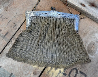 Edwardian Mesh Bag Silver Chainlink Antique Evening Bag Victorian