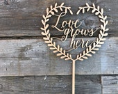 Love Grows Here Heart Wreath Wedding Cake Topper 5.5 inches | Modern Calligraphy | Uniqe Laser Cut Toppers by Ngo Creations
