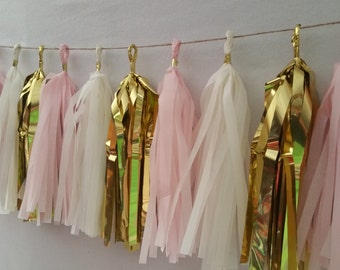 It's a Girl, Blush Pink White Gold,  20 Tassel Tissue Paper Garland, Paper Party Decorations, Tissue Tassels, Baby Shower, Pink Decorations