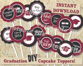 Burgundy graduation cupcake toppers printable DIY template instant download