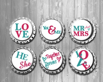 Couple Love Word Art Bottle Cap Magnets - Set of 6