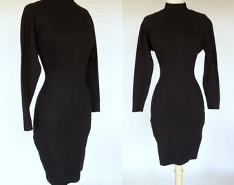 1980s black wiggle dress, high neck, cotton, body con, long sleeve mini dress, Yes Clothing, medium
